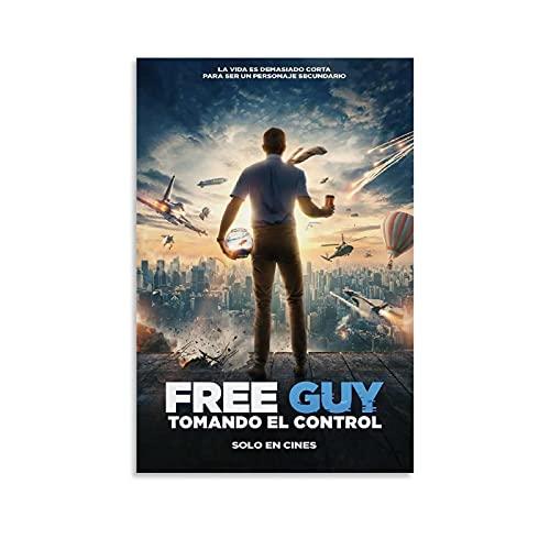 ZZBN Poster, Motiv: Action Movies Free Guy, dekoratives Gemälde, Leinwand, Wandkunst, Wohnzimmer, Poster, Schlafzimmer, Malerei, 20 x 30 cm